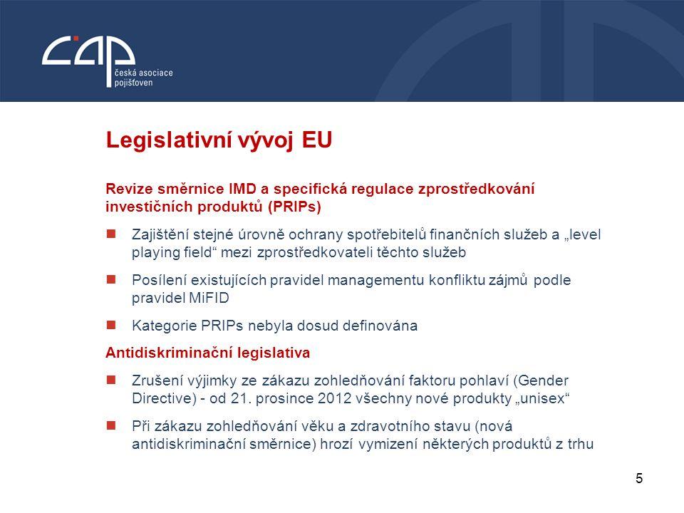 5 VODNÍ BOHATSTVÍ ČESKÉ REPUBLIKY Legislativní vývoj EU Revize směrnice IMD a specifická regulace zprostředkování investičních produktů (PRIPs) Zajišt