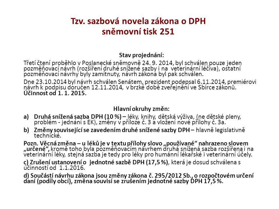 Tzv. sazbová novela zákona o DPH sněmovní tisk 251 Stav projednání: Třetí čtení proběhlo v Poslanecké sněmovně 24. 9. 2014, byl schválen pouze jeden p