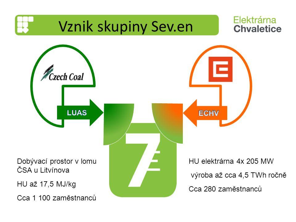 Dobývací prostor v lomu ČSA u Litvínova HU až 17,5 MJ/kg Cca 1 100 zaměstnanců HU elektrárna 4x 205 MW výroba až cca 4,5 TWh ročně Cca 280 zaměstnanců