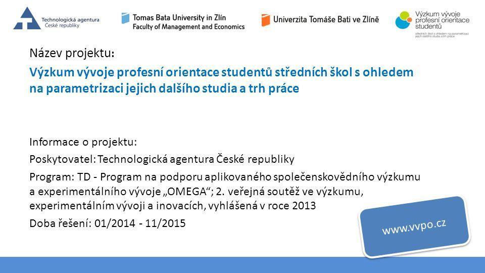 Téma 3 – Poptávka na trhu výrobků a služeb Název projektu : Výzkum vývoje profesní orientace studentů středních škol s ohledem na parametrizaci jejich
