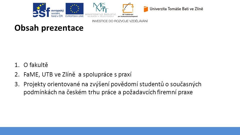 Téma 3 – Poptávka na trhu výrobků a služeb Obsah prezentace 1.O fakultě 2.FaME, UTB ve Zlíně a spolupráce s praxí 3.Projekty orientované na zvýšení po