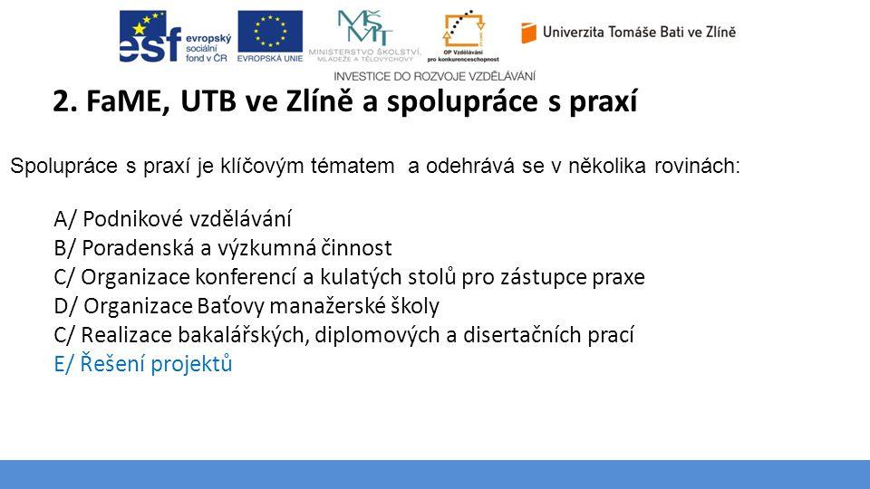 Téma 3 – Poptávka na trhu výrobků a služeb 2. FaME, UTB ve Zlíně a spolupráce s praxí 4 Spolupráce s praxí je klíčovým tématem a odehrává se v několik