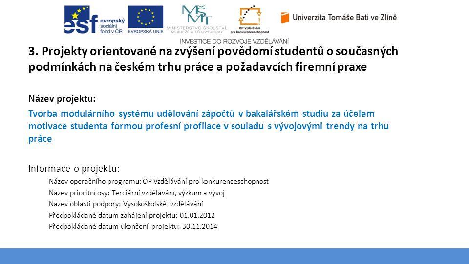 Téma 3 – Poptávka na trhu výrobků a služeb 3. Projekty orientované na zvýšení povědomí studentů o současných podmínkách na českém trhu práce a požadav