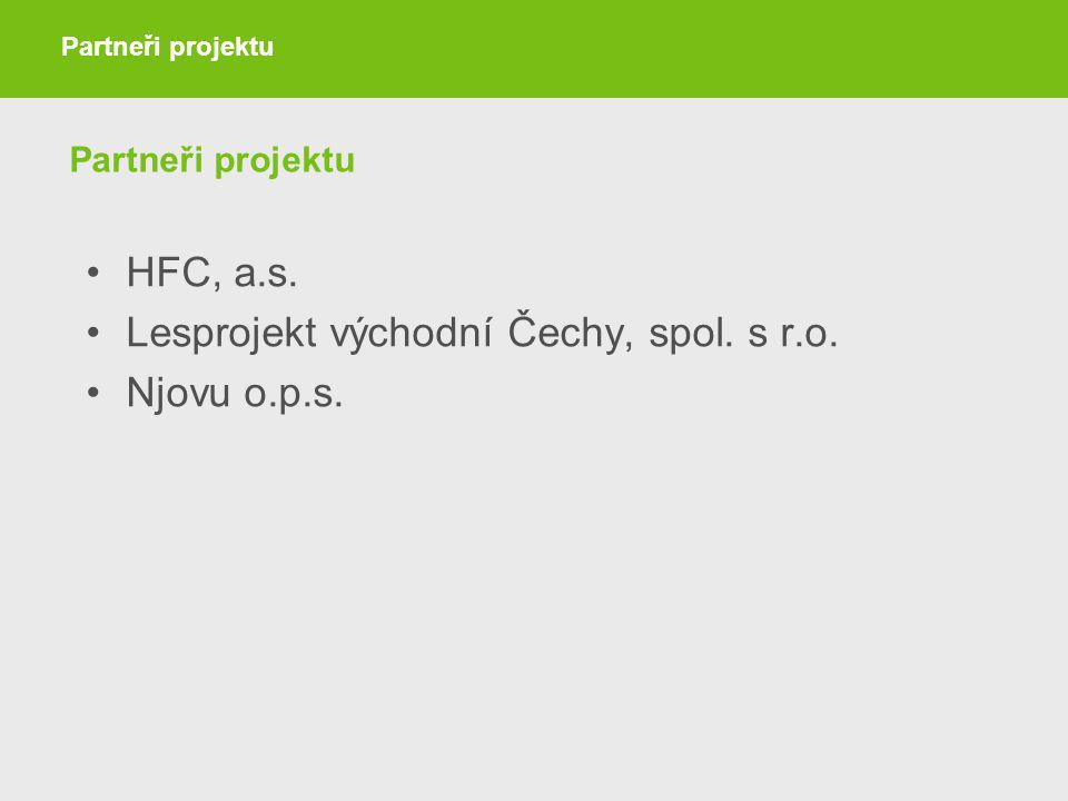 Partneři projektu HFC, a.s. Lesprojekt východní Čechy, spol. s r.o. Njovu o.p.s. Partneři projektu