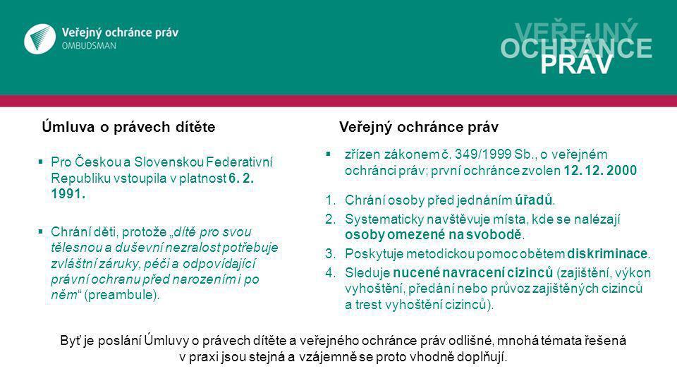 Úmluva o právech dítěteVeřejný ochránce práv  Pro Českou a Slovenskou Federativní Republiku vstoupila v platnost 6.