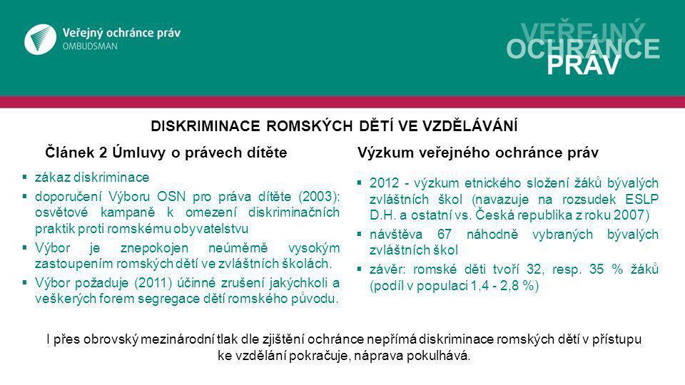 Článek 2 Úmluvy o právech dítěteVýzkum veřejného ochránce práv  zákaz diskriminace  doporučení Výboru OSN pro práva dítěte (2003): osvětové kampaně k omezení diskriminačních praktik proti romskému obyvatelstvu  Výbor je znepokojen neúměrně vysokým zastoupením romských dětí ve zvláštních školách.