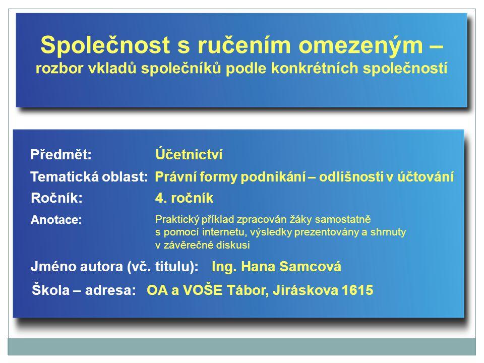 Společnost s ručením omezeným – rozbor vkladů společníků podle konkrétních společností Jméno autora (vč.