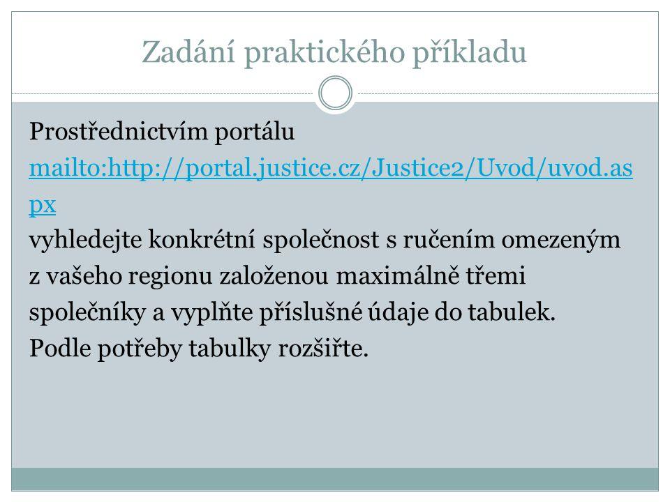 Zadání praktického příkladu Prostřednictvím portálu mailto:http://portal.justice.cz/Justice2/Uvod/uvod.as px vyhledejte konkrétní společnost s ručením omezeným z vašeho regionu založenou maximálně třemi společníky a vyplňte příslušné údaje do tabulek.