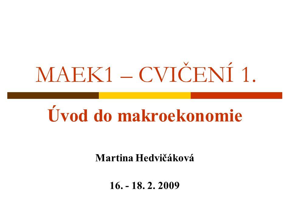 MAEK1 – CVIČENÍ 1. Úvod do makroekonomie Martina Hedvičáková 16. - 18. 2. 2009