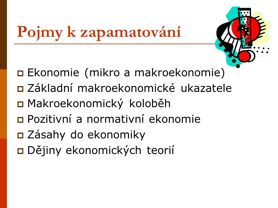 Pojmy k zapamatování  Ekonomie (mikro a makroekonomie)  Základní makroekonomické ukazatele  Makroekonomický koloběh  Pozitivní a normativní ekonom