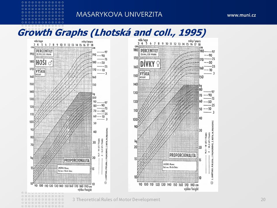 Growth Graphs (Lhotská and coll., 1995) 3 Theoretical Rules of Motor Development20