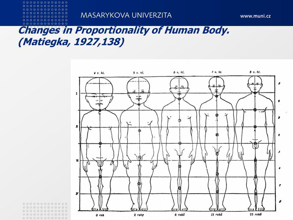 Changes in Proportionality of Human Body. (Matiegka, 1927,138) 3. Teoretické zákonitosti motorického vývoje22