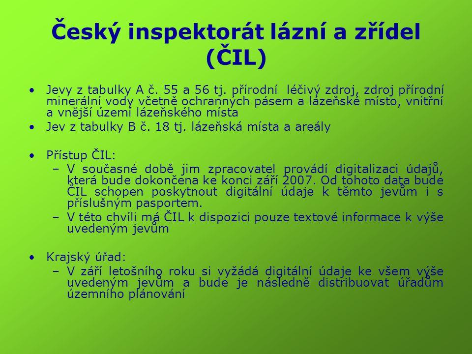 Český inspektorát lázní a zřídel (ČIL) Jevy z tabulky A č. 55 a 56 tj. přírodní léčivý zdroj, zdroj přírodní minerální vody včetně ochranných pásem a
