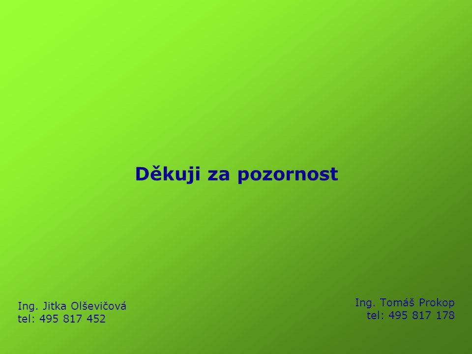 Děkuji za pozornost Ing. Jitka Olševičová tel: 495 817 452 Ing. Tomáš Prokop tel: 495 817 178
