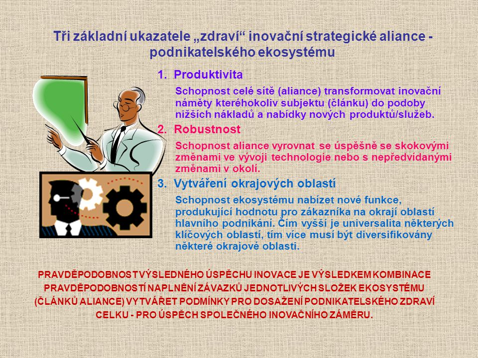 """Tři základní ukazatele """"zdraví"""" inovační strategické aliance - podnikatelského ekosystému 1. Produktivita Schopnost celé sítě (aliance) transformovat"""