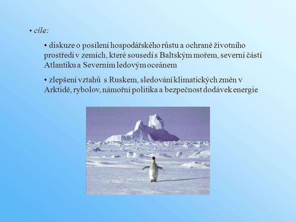 cíle: diskuze o posílení hospodářského růstu a ochraně životního prostředí v zemích, které sousedí s Baltským mořem, severní částí Atlantiku a Severním ledovým oceánem zlepšení vztahů s Ruskem, sledování klimatických změn v Arktidě, rybolov, námořní politika a bezpečnost dodávek energie