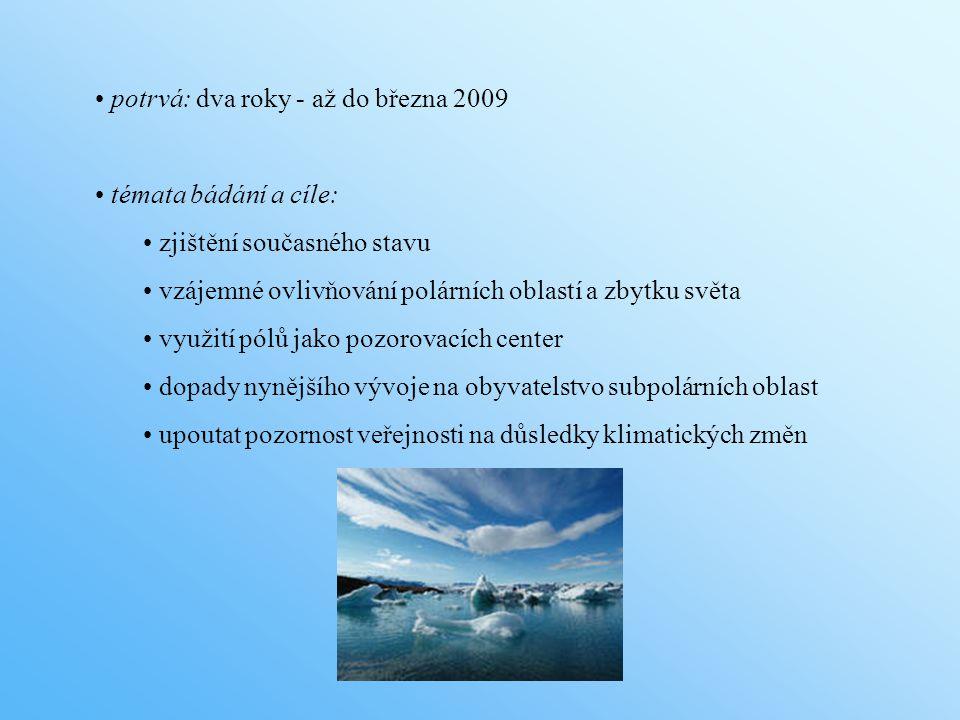 potrvá: dva roky - až do března 2009 témata bádání a cíle: zjištění současného stavu vzájemné ovlivňování polárních oblastí a zbytku světa využití pólů jako pozorovacích center dopady nynějšího vývoje na obyvatelstvo subpolárních oblast upoutat pozornost veřejnosti na důsledky klimatických změn