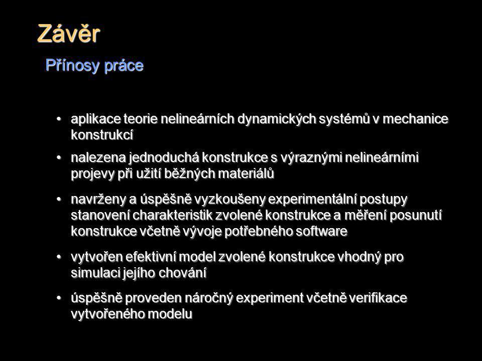 Závěr Přínosy práce aplikace teorie nelineárních dynamických systémů v mechanice konstrukcíaplikace teorie nelineárních dynamických systémů v mechanic