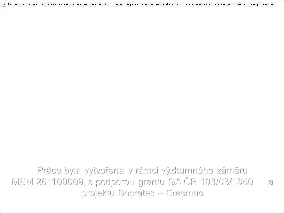 Práce byla vytvořena v rámci výzkumného záměru MSM 261100009, s podporou grantu GA ČR 103/03/1350 a projektu Socrates – Erasmus