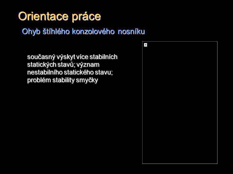 Orientace práce Ohyb štíhlého konzolového nosníku současný výskyt více stabilních statických stavů; význam nestabilního statického stavu; problém stab