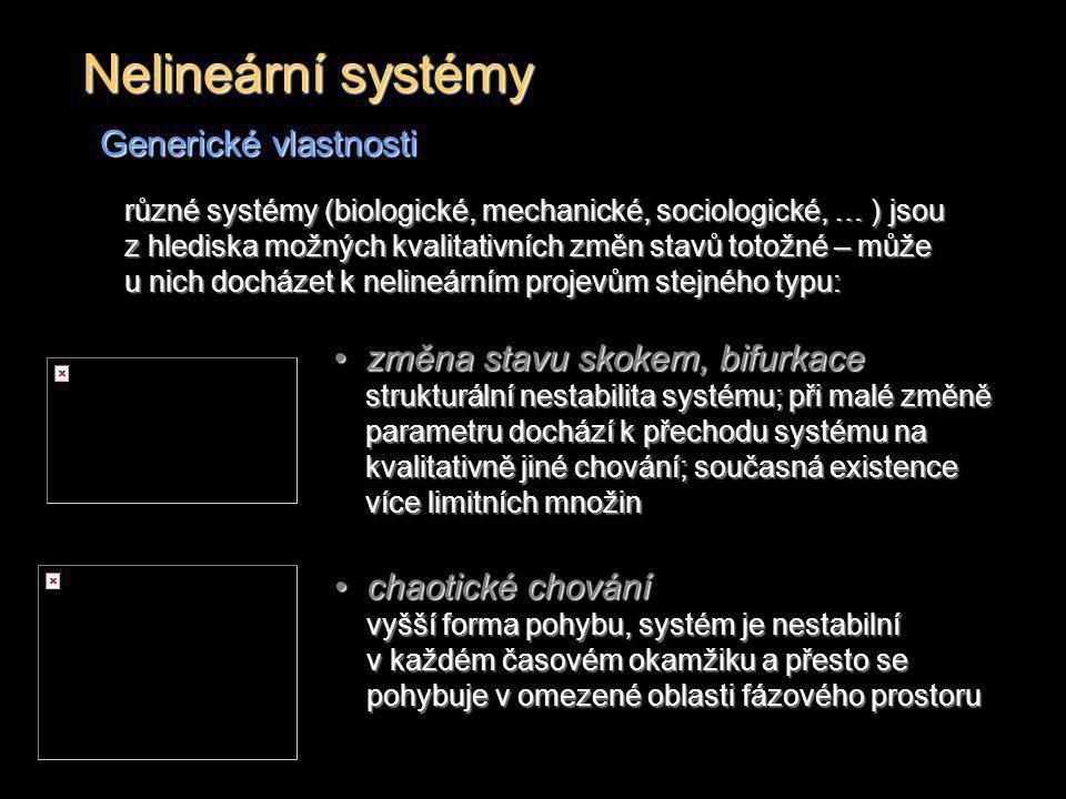 Nelineární systémy Generické vlastnosti změna stavu skokem, bifurkace strukturální nestabilita systému; při malé změně parametru dochází k přechodu sy