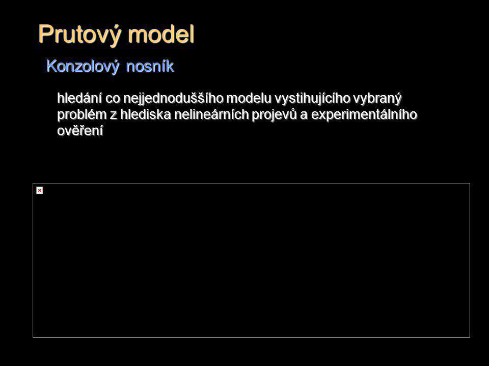 Prutový model Konzolový nosník hledání co nejjednoduššího modelu vystihujícího vybraný problém z hlediska nelineárních projevů a experimentálního ověř