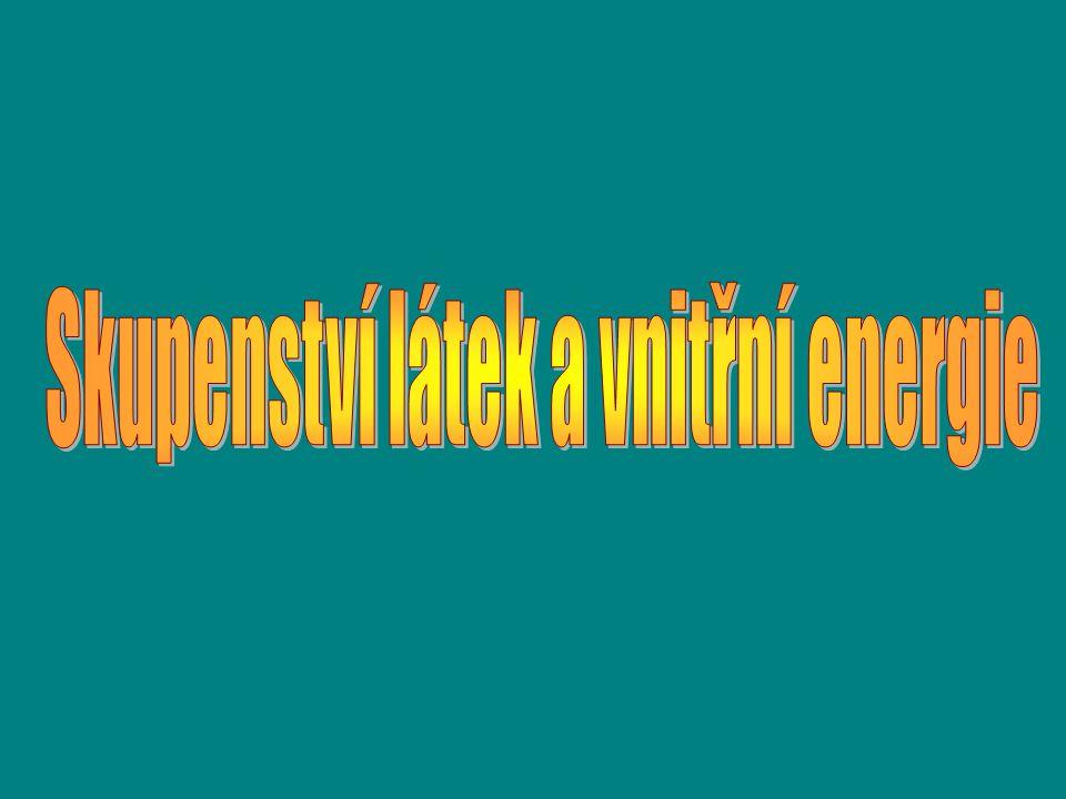 Látky se vyskytují ve 3 skupenstvích: 1.pevné (led, kovy, …) 2.kapalné (voda, benzín, …) 3.plynné (pára, vzduch, …)