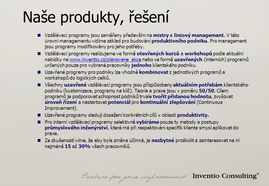 Naše produkty, řešení Vzdělávací programy jsou zaměřeny především na mistry a liniový management.