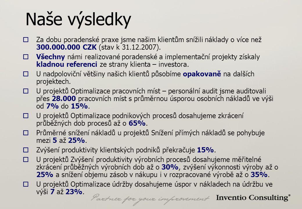 Naše výsledky  Za dobu poradenské praxe jsme našim klientům snížili náklady o více než 300.000.000 CZK (stav k 31.12.2007).