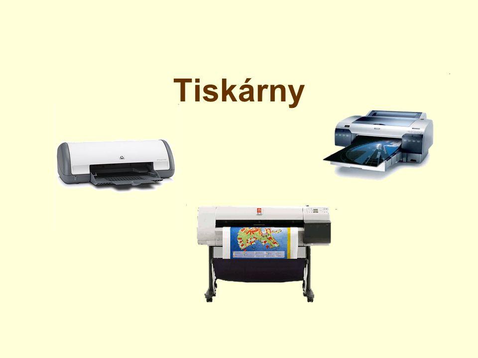 tiskárny zabezpečují výstup informací na papír (případně fólii) k počítači je můžeme připojit pomocí paralerního portu, USB, počítačové sítě nebo infračerveným spojením nejčastěji je dělíme jehličkové, inkoustové a laserové