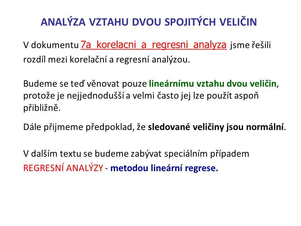 ANALÝZA VZTAHU DVOU SPOJITÝCH VELIČIN V dokumentu 7a_korelacni_a_regresni_analyza jsme řešili 7a_korelacni_a_regresni_analyza rozdíl mezi korelační a
