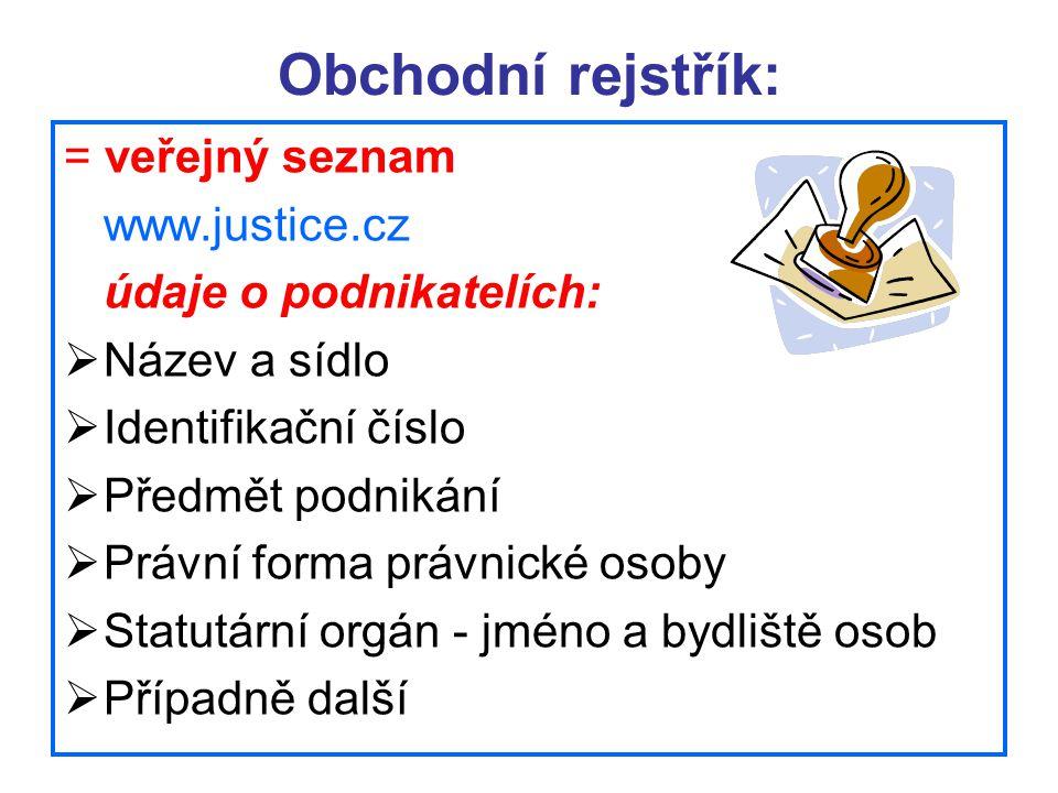 Obchodní rejstřík: = veřejný seznam www.justice.cz údaje o podnikatelích:  Název a sídlo  Identifikační číslo  Předmět podnikání  Právní forma prá