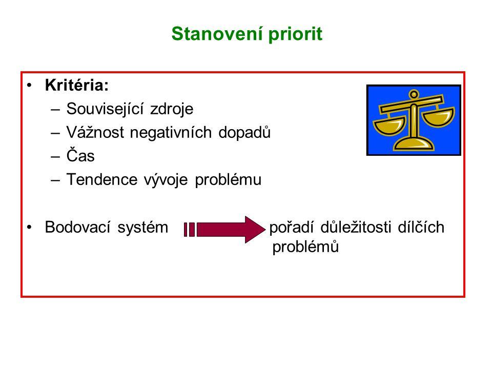 Kritéria: –Související zdroje –Vážnost negativních dopadů –Čas –Tendence vývoje problému Bodovací systém pořadí důležitosti dílčích problémů Stanovení