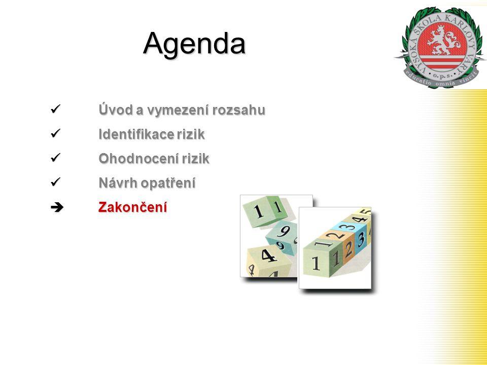 Agenda Úvod a vymezení rozsahu Úvod a vymezení rozsahu Identifikace rizik Identifikace rizik Ohodnocení rizik Ohodnocení rizik Návrh opatření Návrh op