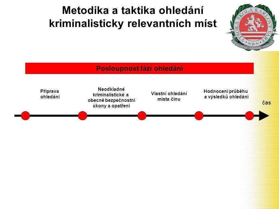 Metodika a taktika ohledání kriminalisticky relevantních míst čas Příprava ohledání Neodkladné kriminalistické a obecně bezpečnostní úkony a opatření