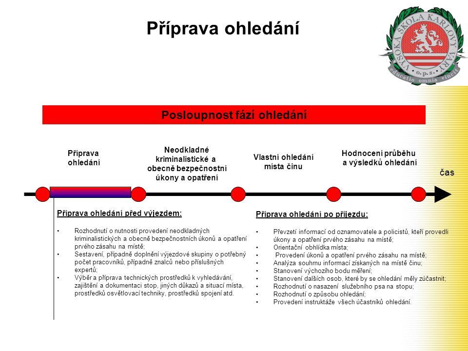 Příprava ohledání čas Příprava ohledání Neodkladné kriminalistické a obecně bezpečnostní úkony a opatření Posloupnost fází ohledání Vlastní ohledání m
