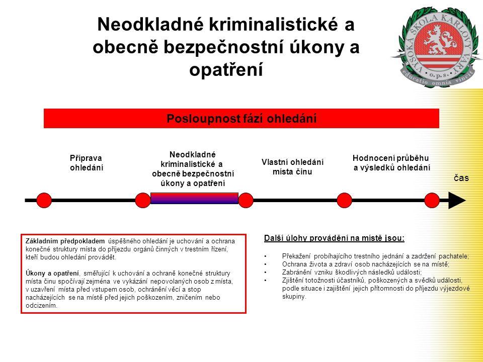 Neodkladné kriminalistické a obecně bezpečnostní úkony a opatření čas Příprava ohledání Neodkladné kriminalistické a obecně bezpečnostní úkony a opatř