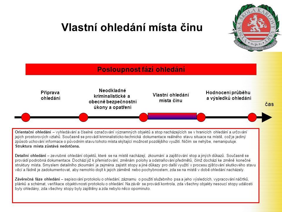 Vlastní ohledání místa činu čas Příprava ohledání Neodkladné kriminalistické a obecně bezpečnostní úkony a opatření Posloupnost fází ohledání Vlastní