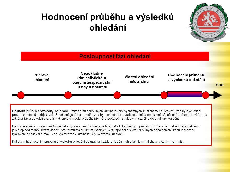 Hodnocení průběhu a výsledků ohledání čas Příprava ohledání Neodkladné kriminalistické a obecně bezpečnostní úkony a opatření Posloupnost fází ohledán