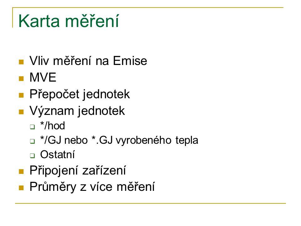 Karta měření Vliv měření na Emise MVE Přepočet jednotek Význam jednotek  */hod  */GJ nebo *.GJ vyrobeného tepla  Ostatní Připojení zařízení Průměry z více měření