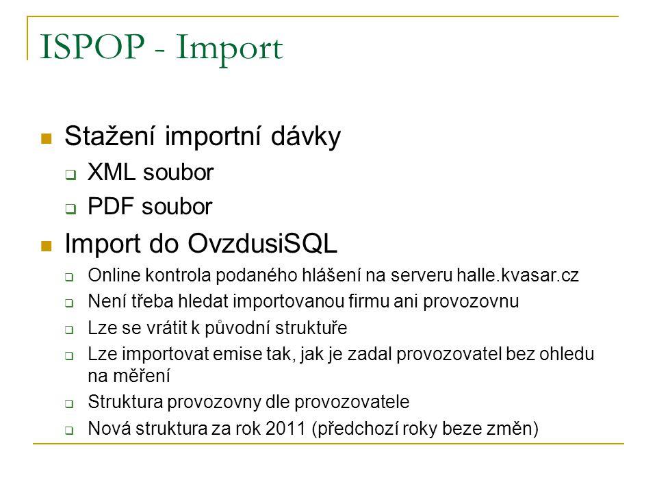 ISPOP - Import Stažení importní dávky  XML soubor  PDF soubor Import do OvzdusiSQL  Online kontrola podaného hlášení na serveru halle.kvasar.cz  Není třeba hledat importovanou firmu ani provozovnu  Lze se vrátit k původní struktuře  Lze importovat emise tak, jak je zadal provozovatel bez ohledu na měření  Struktura provozovny dle provozovatele  Nová struktura za rok 2011 (předchozí roky beze změn)