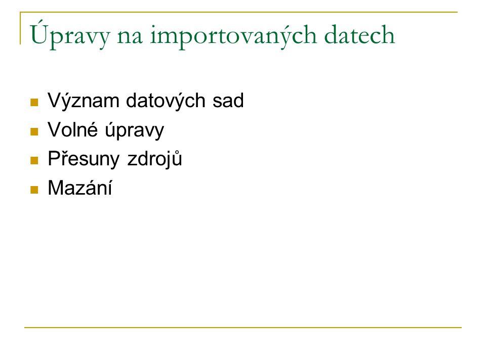 Úpravy na importovaných datech Význam datových sad Volné úpravy Přesuny zdrojů Mazání