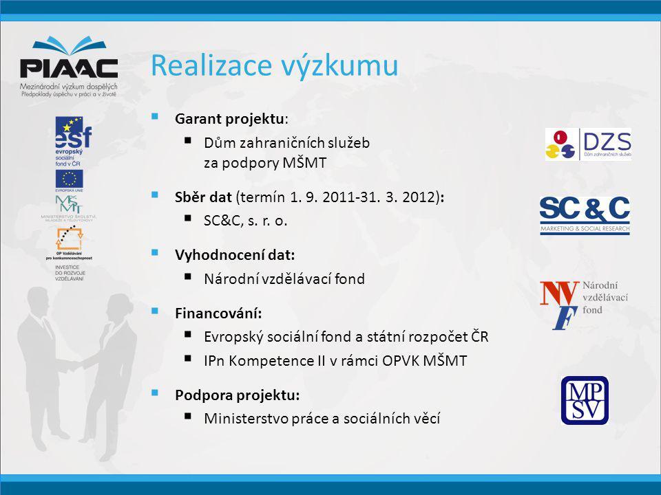 Osobnosti podporující PIAAC  Radek Banga zpěvák Výzkum PIAAC může pomoci k tomu, aby české školství vědělo, kam koncentrovat svoji energii, kam zaměřit pozornost a finance.