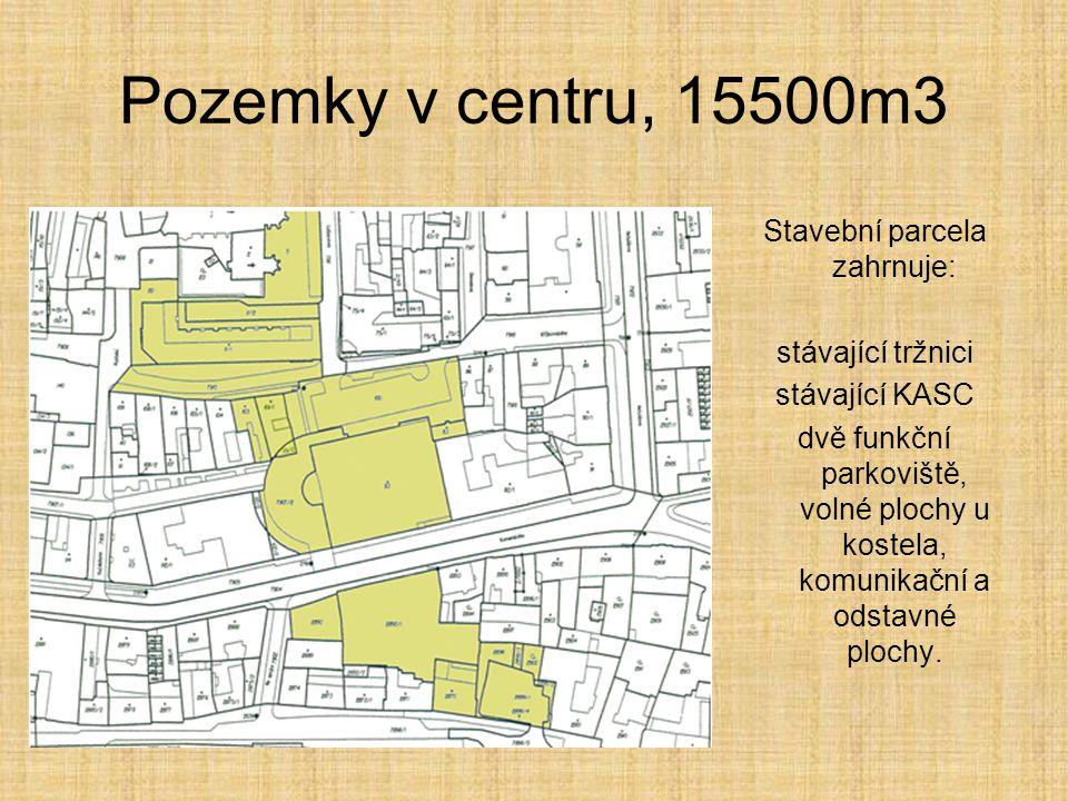 Pozemky v centru, 15500m3 Stavební parcela zahrnuje: stávající tržnici stávající KASC dvě funkční parkoviště, volné plochy u kostela, komunikační a od
