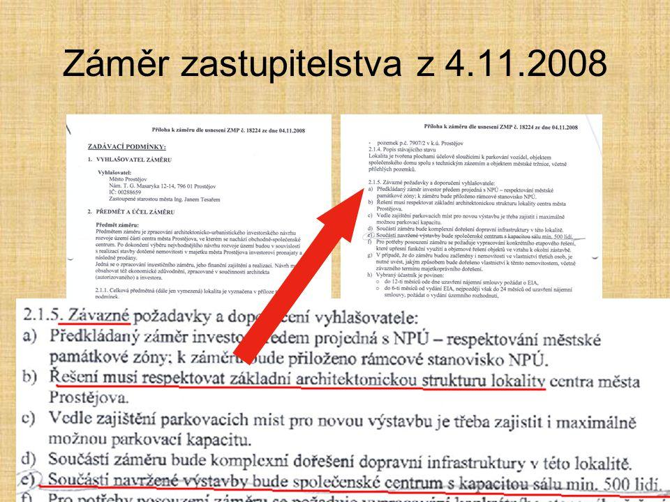 Záměr zastupitelstva z 4.11.2008