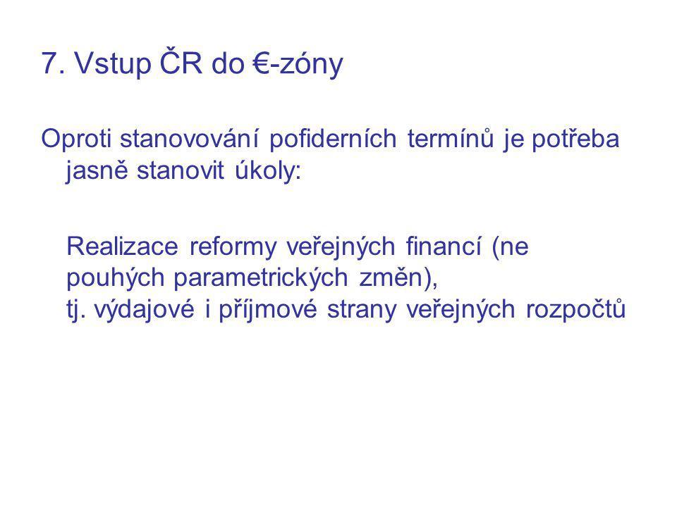 7. Vstup ČR do €-zóny Oproti stanovování pofiderních termínů je potřeba jasně stanovit úkoly: Realizace reformy veřejných financí (ne pouhých parametr