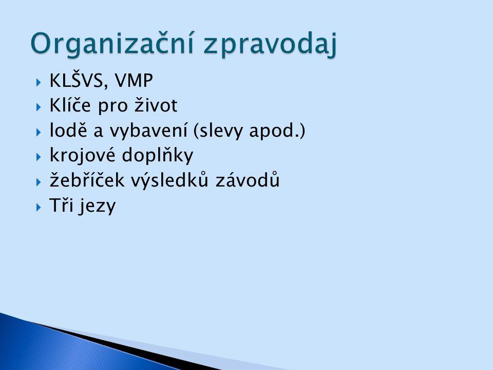  KLŠVS, VMP  Klíče pro život  lodě a vybavení (slevy apod.)  krojové doplňky  žebříček výsledků závodů  Tři jezy