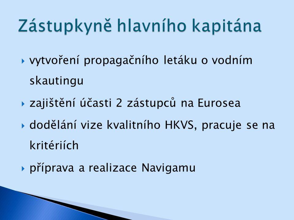  vytvoření propagačního letáku o vodním skautingu  zajištění účasti 2 zástupců na Eurosea  dodělání vize kvalitního HKVS, pracuje se na kritériích  příprava a realizace Navigamu