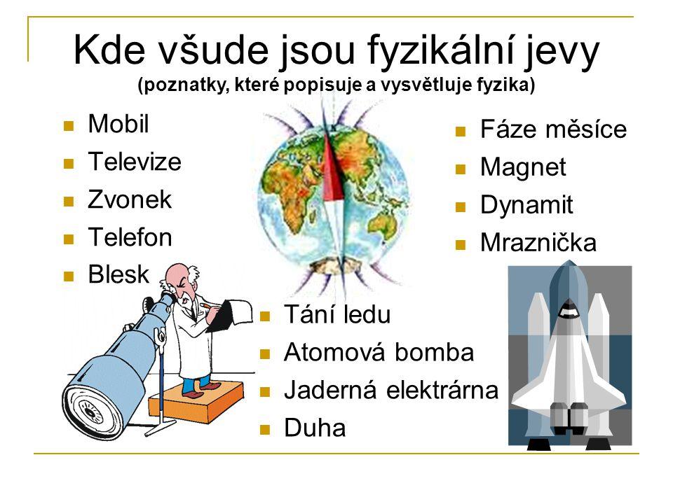 Kde všude jsou fyzikální jevy (poznatky, které popisuje a vysvětluje fyzika) Mobil Televize Zvonek Telefon Blesk Fáze měsíce Magnet Dynamit Mraznička