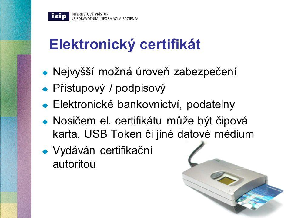 Tři kroky k využití elektronických certifikátů Krok 1 – posílení bezpečnosti přístupu k zdravotním informacím pomocí přístupového certifikátu Krok 2 – zvýšení věrohodnosti informací podepsáním zprávy lékařem Krok 3 – elektronická registrace – podepsání přihlášky el.